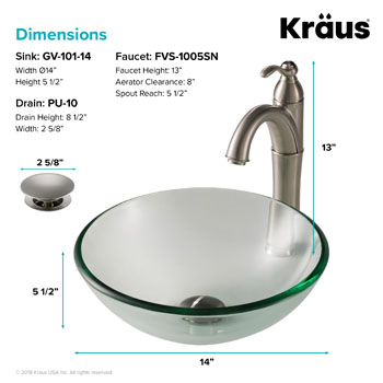 Kraus Clear 14 inch Glass Vessel Sink and Rivera Faucet, Satin Nickel