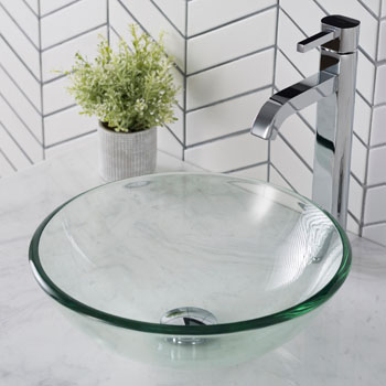 Kraus Clear 14 inch Glass Vessel Sink and Ramus Faucet Set, Chrome