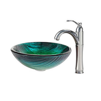 Kraus Nei Glass Vessel Sink and Riviera Faucet Chrome Set