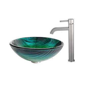 Kraus Nei Glass Vessel Sink and Ramus Faucet Satin Nickel Set