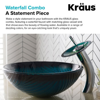 Kraus Nature Series Nei Glass Vessel Sink and Waterfall Faucet Chrome Set