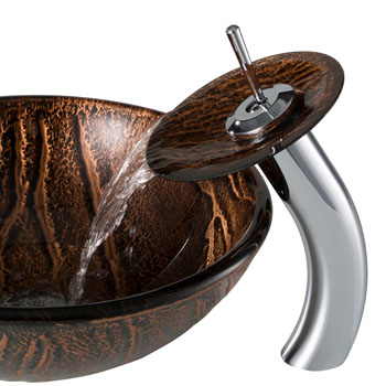 Kraus Nature Series Gaia Glass Vessel Sink and Waterfall Faucet Chrome Set