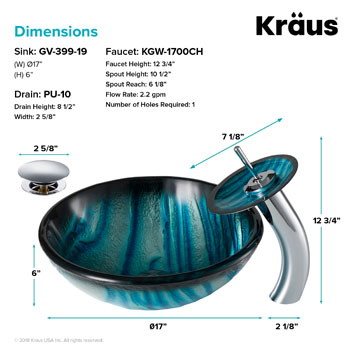 Kraus Nature Series Ladon Glass Vessel Sink and Waterfall Faucet Chrome Set