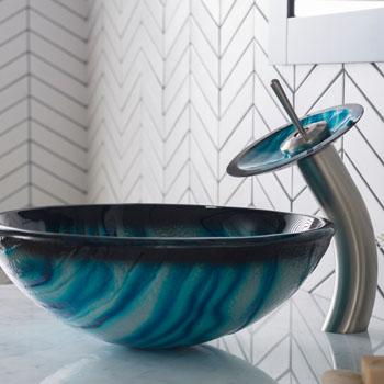 Kraus Nature Series Ladon Glass Vessel Sink and Waterfall Faucet Satin Nickel Set