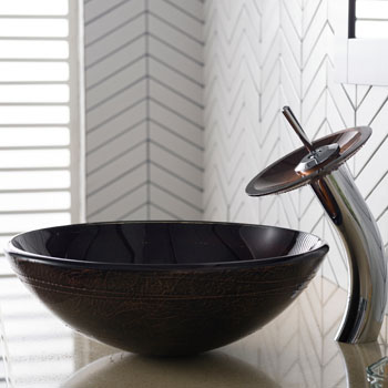 Kraus Copper Illusion Glass Vessel Sink and Waterfall Faucet, Chrome