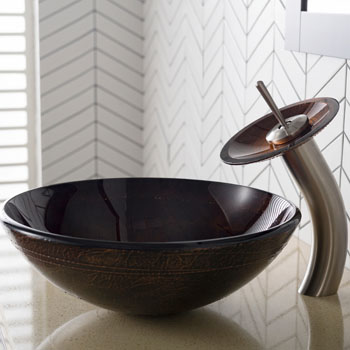 Kraus Copper Illusion Glass Vessel Sink and Waterfall Faucet, Satin Nickel