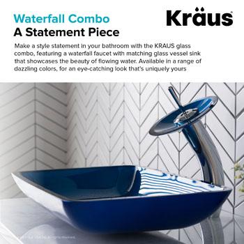 Kraus Irruption Blue Rectangular Glass Sink and Waterfall Faucet, Chrome