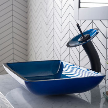 Kraus Irruption Blue Rectangular Glass Sink and Waterfall Faucet, Oil Rubbed Bronze