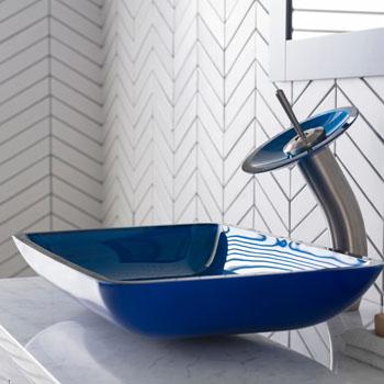 Kraus Irruption Blue Rectangular Glass Sink and Waterfall Faucet, Satin Nickel