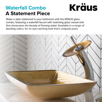 Kraus Golden Pearl Rectangular Glass Sink and Waterfall Faucet, Chrome