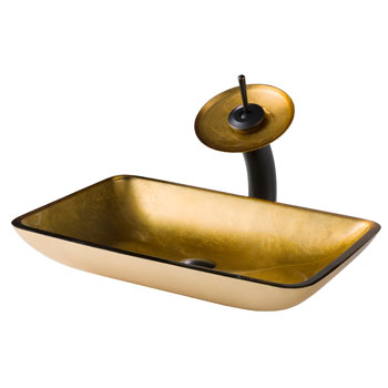 Kraus Golden Pearl Rectangular Glass Sink and Waterfall Faucet, Oil Rubbed Bronze
