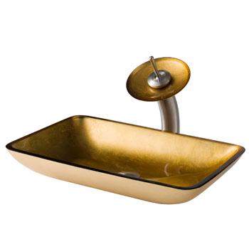Kraus Golden Pearl Rectangular Glass Sink and Waterfall Faucet, Satin Nickel