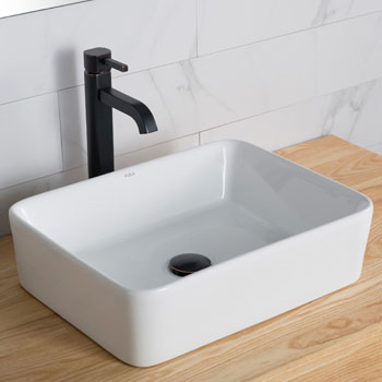 Kraus White Rectangular Ceramic Sink and Ramus Faucet