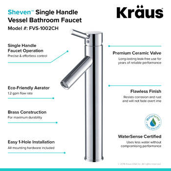 Kraus White Square Ceramic Sink and Sheven Faucet, Chrome