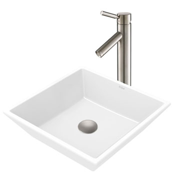 Kraus White Square Ceramic Sink and Sheven Faucet, Satin Nickel