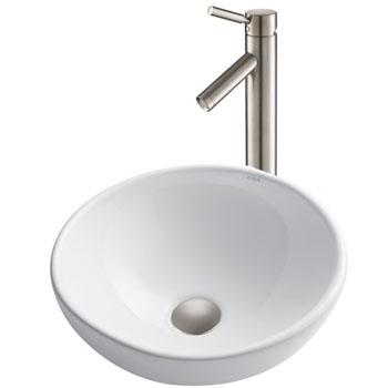 Kraus White Round Ceramic Sink and Sheven Faucet, Satin Nickel
