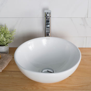 Kraus White Round Ceramic Sink and Ramus Faucet, Chrome