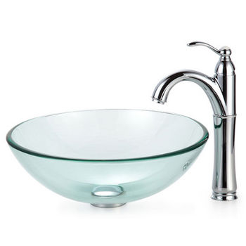 Kraus Clear Glass Vessel Sink and Rivera Faucet, Chrome