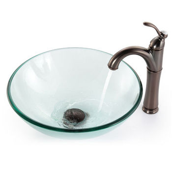 Kraus Clear Glass Vessel Sink and Rivera Faucet, Oil Rubbed Bronze
