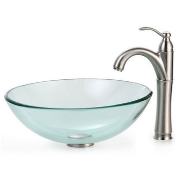 Kraus Clear Glass Vessel Sink and Rivera Faucet, Satin Nickel
