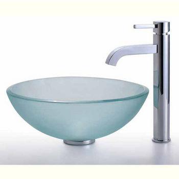 Kraus Clear Glass Vessel Bathroom Sink and Ramus Faucet Set