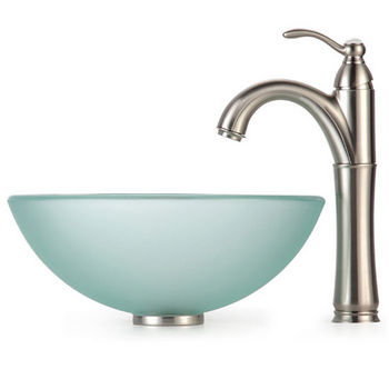 Kraus Frosted 14 inch Glass Vessel Sink and Rivera Faucet, Satin Nickel