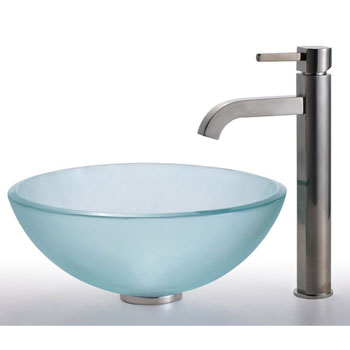Kraus Frosted 14 inch Glass Vessel Sink and Ramus Faucet Set