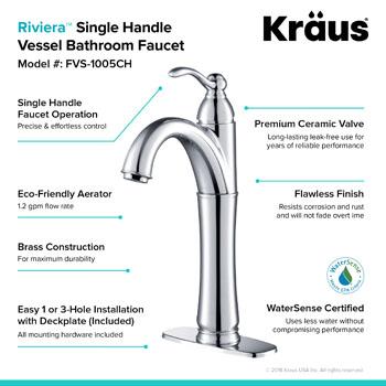 Kraus Rivera Single Lever Vessel Mixer, Chrome
