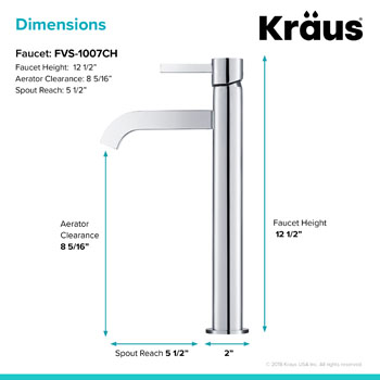 Kraus Ramus Single Lever Vessel Mixer, Chrome