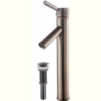 Kraus Sheven Single Lever Vessel Mixer with Matching Pop Up Drain, Oil Rubbed Bronze