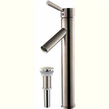 Kraus Sheven Single Lever Vessel Mixer with Matching Pop Up Drain, Satin Nickel