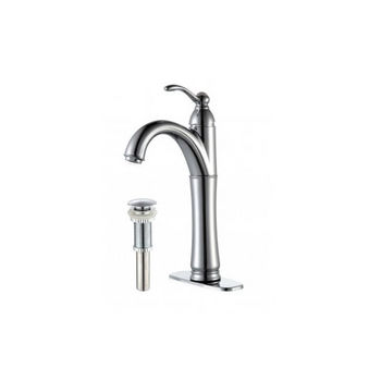 Kraus Rivera Single Lever Vessel Mixer with Matching Pop Up Drain, Chrome