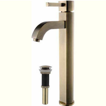 Kraus Ramus Single Lever Vessel Mixer with Matching Pop Up Drain, Antique Brass