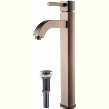 Kraus Ramus Single Lever Vessel Mixer with Matching Pop Up Drain, Oil Rubbed Bronze