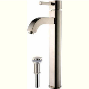 Kraus Ramus Single Lever Vessel Mixer with Matching Pop Up Drain, Satin Nickel
