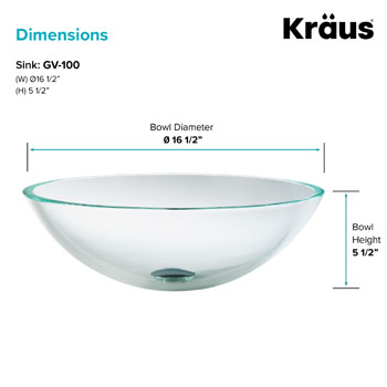 "Kraus Crystal Clear Glass Vessel Sink, 16-1/2"" Dia. x 5-1/2"" H"