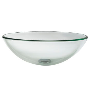 "Kraus Clear Glass Vessel Sink, 16-1/2"" Dia. x 5-1/2"" H"
