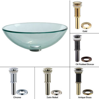Kraus Clear Glass Vessel Sink with Pop-Up Drain & Mounting Ring, 16-1/2''D x 5-1/2''H