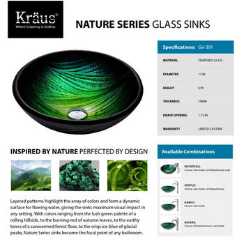 Kraus GV-391 Nature Series Glass Sinks Specifications
