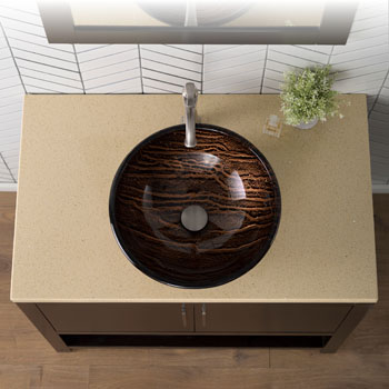 Kraus Nature Series Gaia Round Glass Vessel Sink, 17'' Dia x 6'' H, Multicolor Glass