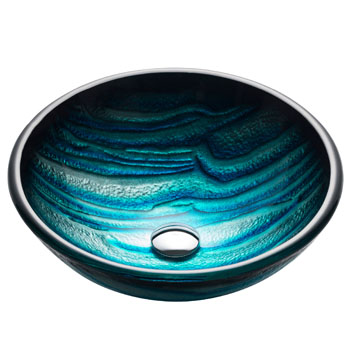 Kraus Nature Series Ladon Round Glass Vessel Sink, 17'' Dia x 6'' H, Multicolor Glass