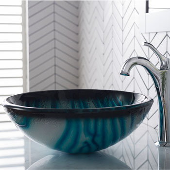 Kraus Nature Series Ladon Round Glass Vessel Sink, 17'' Dia x 6'' H, Multicolor Glass