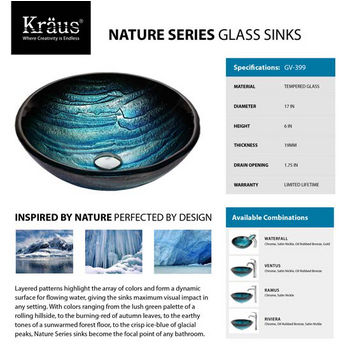 Kraus GV-399 Nature Series Glass Sinks Specifications