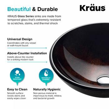 "Kraus Pluto Glass Vessel Sink, 16-1/2"" Dia. x 5-1/2"" H"