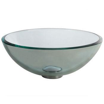 "Kraus Clear 14'' or 16-1/2"" D Glass Vessel Sink"