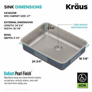 Kraus 25'' Sink Dimensions