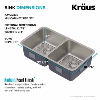 Kraus 33'' Double Bowl Sink Dimensions