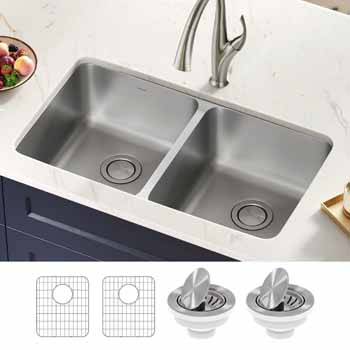 Kraus 33'' Double Bowl Sink Lifestyle View 1