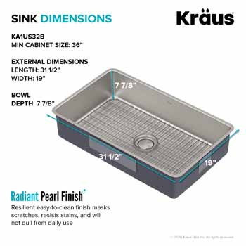Kraus 32'' Sink Dimensions