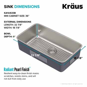 Kraus 33'' Single Bowl Sink Dimensions